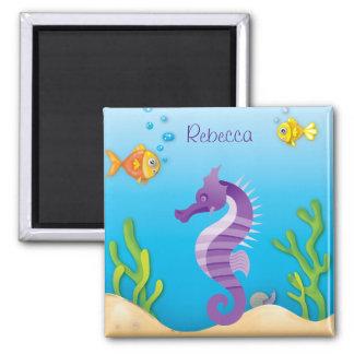 Seahorse púrpura subacuático imán cuadrado