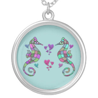 Seahorse Rainbow Heart Necklace