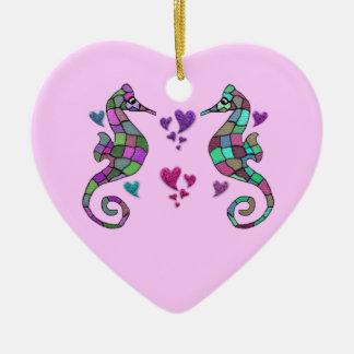 Seahorse Rainbow Valentine Ornament