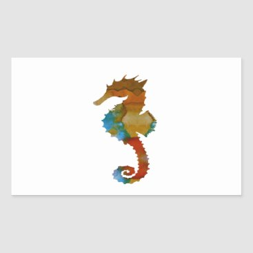 Beach Themed Seahorse Rectangular Sticker
