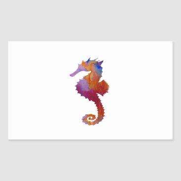 Beach Themed Seahorse Rectangular Sticker