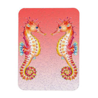 seahorse red bubbles magnet