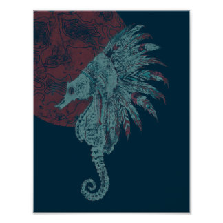seahorse red moon poster