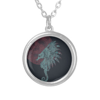 seahorse red moon silver plated necklace