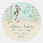 Seahorse Return Address Envelope Seal Round Stickers