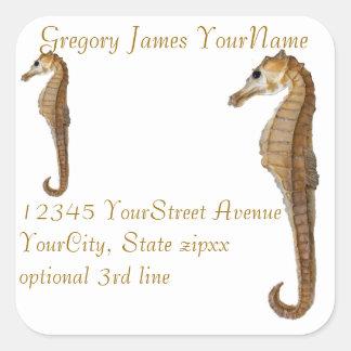 Seahorse Return Address Square Sticker