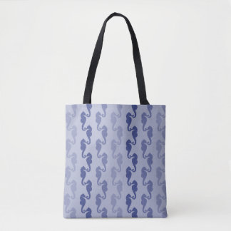 Seahorse Ribbons Blue Lavender Tote Bag