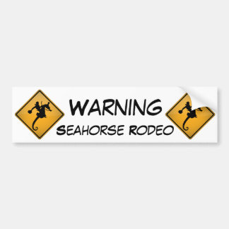 Seahorse Rodeo Warning Sign Car Bumper Sticker