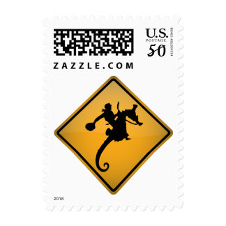 Seahorse Rodeo Warning Sign Postage