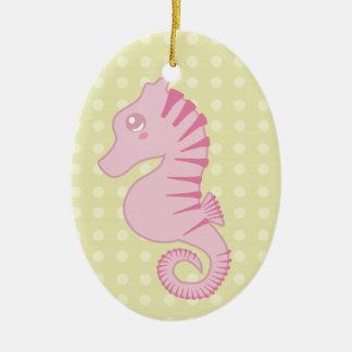 Seahorse rosado lindo adornos de navidad
