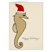 Seahorse Santa Christmas Card