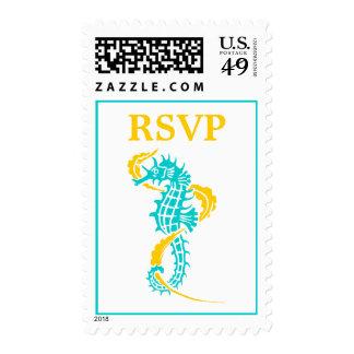 Seahorse & seaweed turquoise, yellow wedding RSVP Stamp