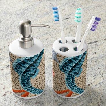 Beach Themed Seahorse Shabby Bath Set