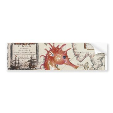 Beach Themed Seahorse Shabby Bumper Sticker