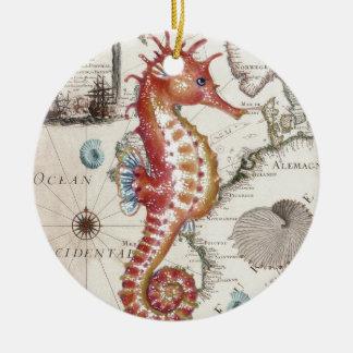 Seahorse Shabby Ceramic Ornament