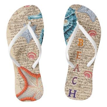 Beach Themed Seahorse Shabby Flip Flops