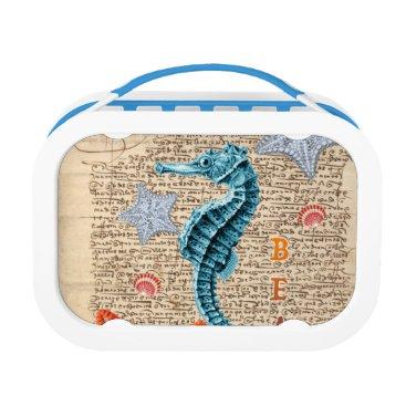 Beach Themed Seahorse Shabby Lunch Box