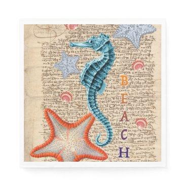 Beach Themed Seahorse Shabby Paper Napkin