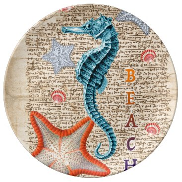 Beach Themed Seahorse Shabby Porcelain Plate