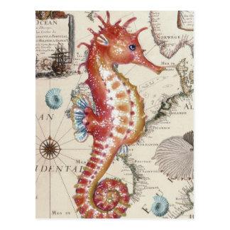 Seahorse Shabby Postcard