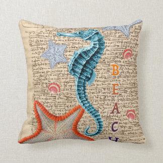Seahorse Shabby Throw Pillow