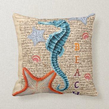Beach Themed Seahorse Shabby Throw Pillow