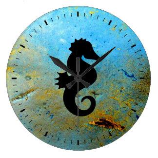 Seahorse Silhouette Large Clock