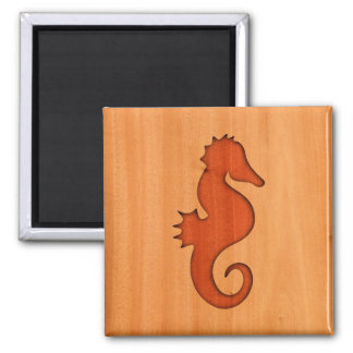 Seahorse silhouette on wood 2 inch square magnet