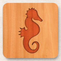 Seahorse silhouette on wood beverage coaster