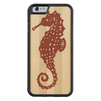 Seahorse Silhouette Carved® Maple iPhone 6 Bumper Case