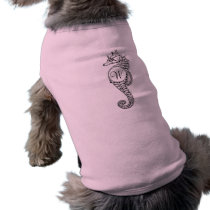 Seahorse Sketch Initialed Doggie Shirt