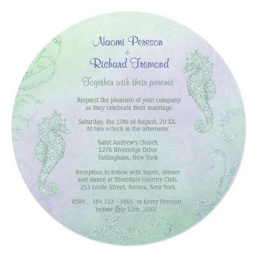 Beach Themed Seahorse Sparkle Wedding Invitation - Round