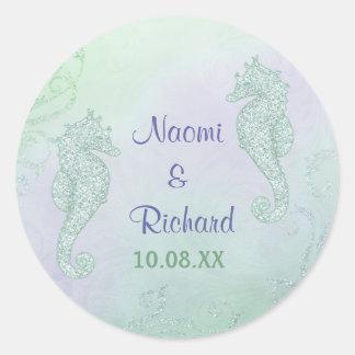 Seahorse Sparkle Wedding -  Save the Date Classic Round Sticker