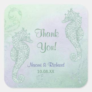 Seahorse Sparkle Wedding -  Thank You Stickers