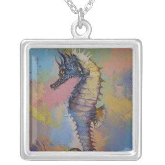 Seahorse Square Pendant Necklace