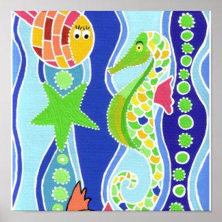 Seahorse, Starfish, and Fish Poster