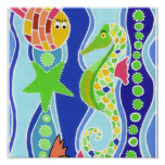Seahorse, Starfish, and Fish Posters