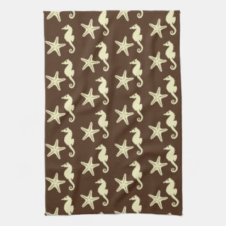 Seahorse & starfish - cocoa brown and beige hand towel