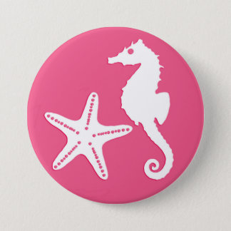 Seahorse & starfish - Coral Pink and White Button