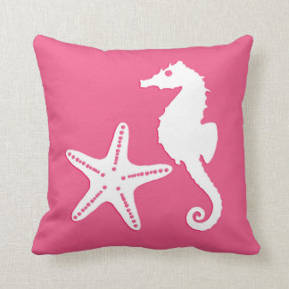 Seahorse & starfish - Coral Pink and White Throw Pillow