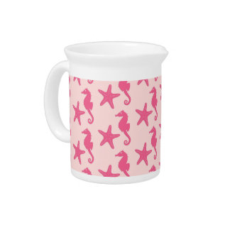 Seahorse & starfish - coral pink beverage pitcher