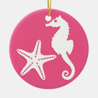 Seahorse & starfish - coral pink ceramic ornament