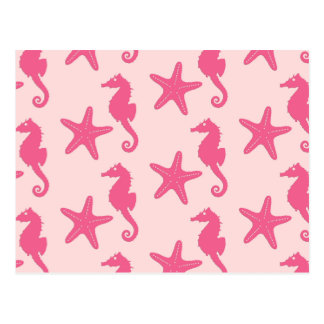 Seahorse & starfish - coral pink postcard