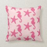 Seahorse & starfish - coral pink throw pillow