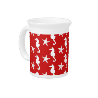 Seahorse & starfish - dark coral red and white beverage pitcher