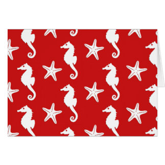 Seahorse & starfish - dark coral red and white card