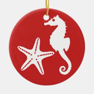 Seahorse & starfish - dark coral red and white ceramic ornament