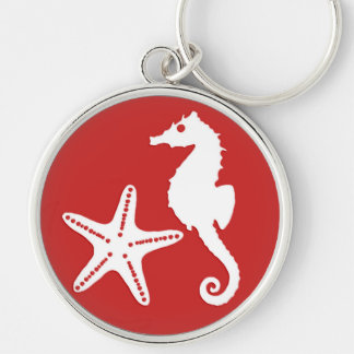 Seahorse & starfish - dark coral red and white keychain