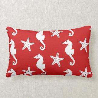 Seahorse & starfish - dark coral red and white lumbar pillow