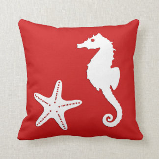 Seahorse & starfish - dark coral red and white throw pillow